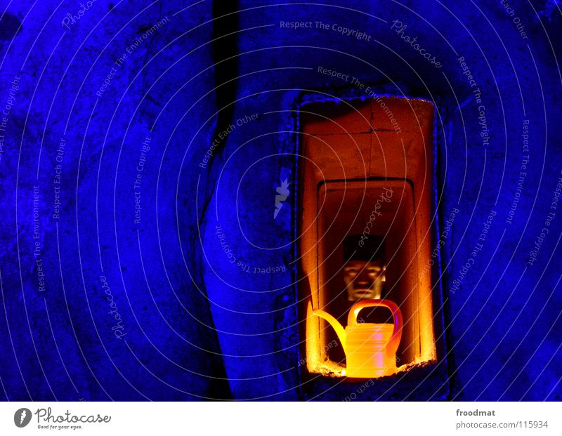 hole in the wall Shift work Cottbus Germany Decline Jug Things Clear Dark Watering can Blue Flashy Constant light Long exposure Flashlight Man froodmat LED