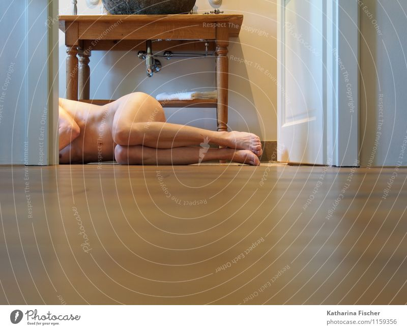 Human being Woman Naked White Adults Feminine Gray Exceptional Legs Brown Art Feet Lie Body Authentic Perspective