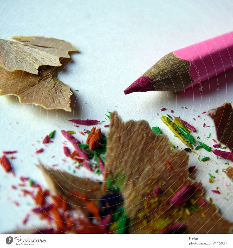 sharpened crayon lies on the table with the waste Sharpened Sharpener Pen Crayon Wood Facial expression Multicoloured Trash Long Thin Pink Paper Block Together