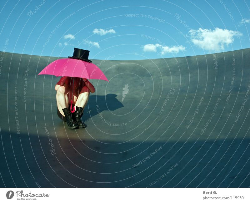 Human being Sky Man Youth (Young adults) Blue Summer Clouds Black Rain Blonde Pink Sit Protection Thin Beautiful weather Umbrella