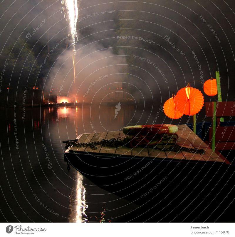 smoke on the water (II) Night Reflection New Year's Eve Rope Fire Water Coast Lake Watercraft Smoke Dark Transience Lantern Life belt Blaze Firecracker