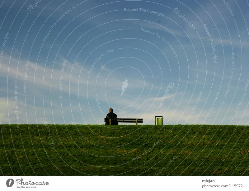 Woman Human being Man Beautiful Sky Calm Senior citizen Clouds Relaxation Meadow Dream Wall (barrier) Air Room Small Large