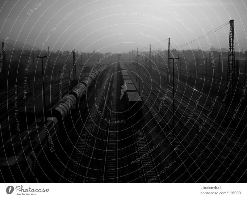 yard Railroad Freight station Railroad tracks Lamp Dark Gloomy Transport Logistics Train station train Goods Line Container Loneliness Industrial Photography