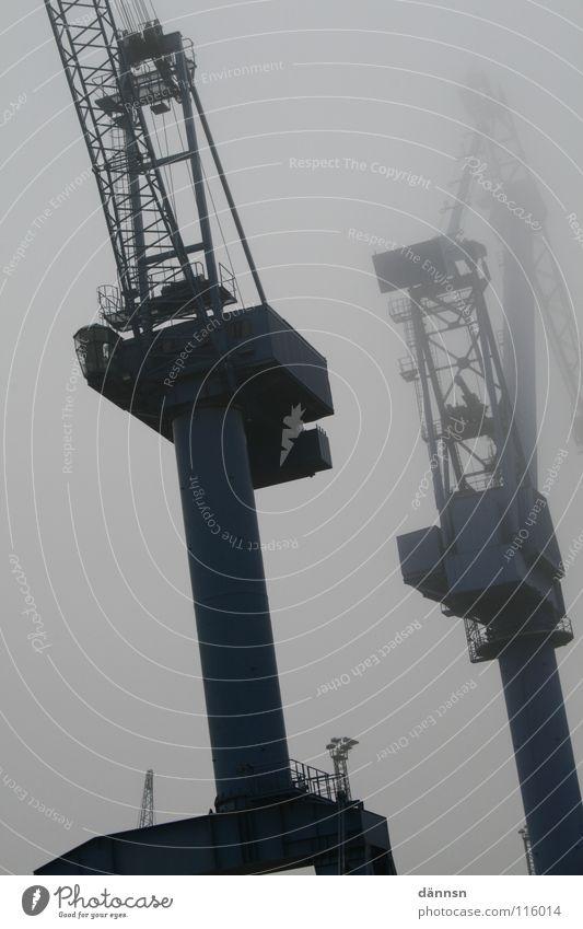 Coast Fog Construction site Harbour Steel Weight Crane Pole Heavy Rostock Mecklenburg-Western Pomerania Shipyard Warnemünde Dockside crane Bulky