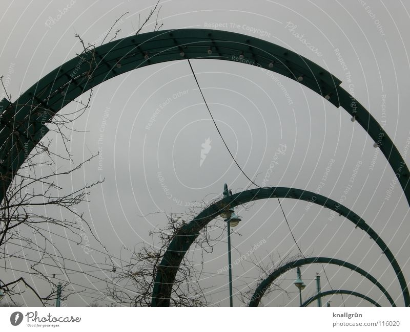 semicircle Lantern Winter mood Bridge arches Metal Cable December morning