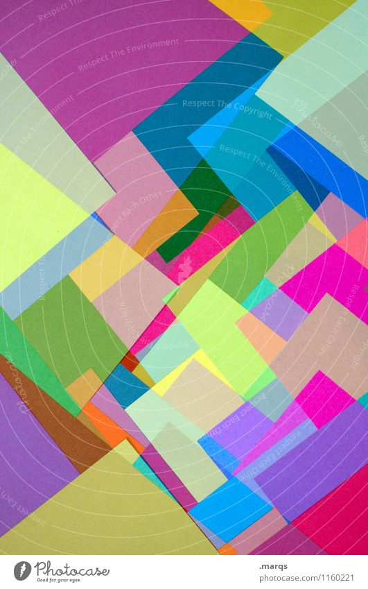 in layers Style Design Sharp-edged Uniqueness Multicoloured Chaos Colour Arrangement Paper Illustration Background picture Colour photo Close-up Abstract