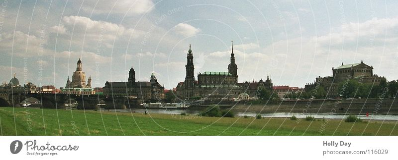 Canaletto in July Dresden River bank Rich pasture Semper Opera Summer Panorama (View) Green Clouds Lemon squeezer Vantage point Landmark Monument Elbe canaletto