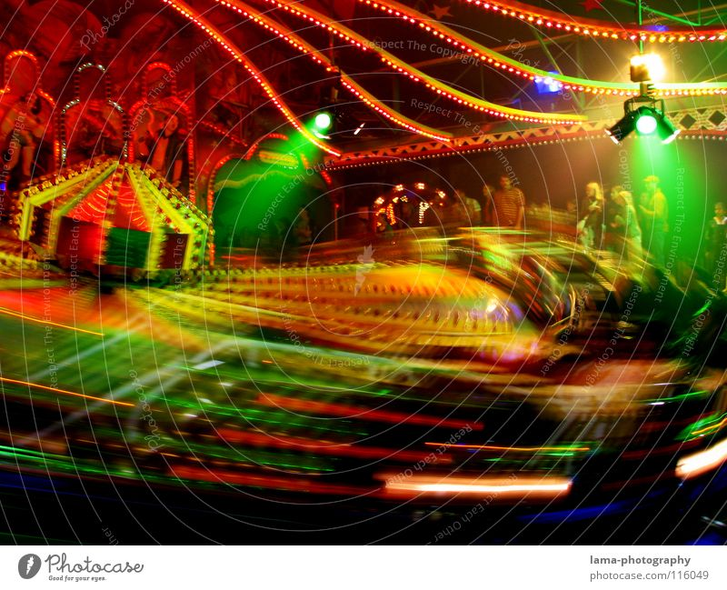 PARTY ON! Fairs & Carnivals Spring celebration Attraction Carousel Light Electric bulb Neon light Multicoloured Glittering Theme-park rides Bumper car Speed