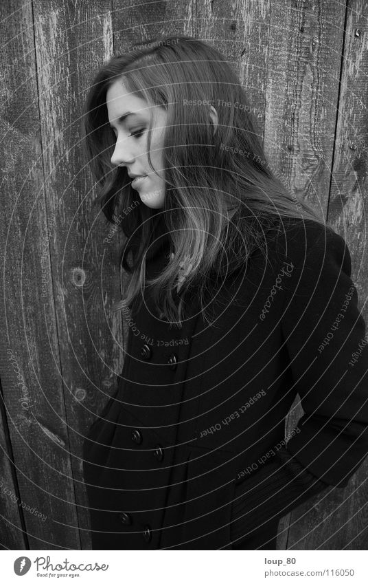 oT Coat Wood Loneliness Black Portrait photograph Think Closed eyes Silhouette Black & white photo Winter Woman Profile