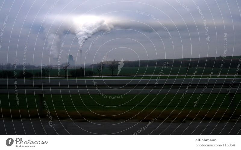 Sky Blue Clouds Gray Fog Horizon Industry Factory Exhaust gas Steam Dreary