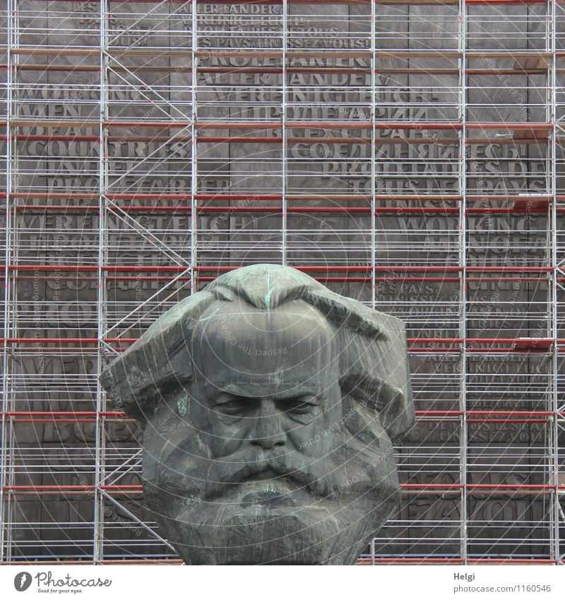 Karl's Art Work of art Sculpture Culture Bust Monument Chemnitz Town Downtown Tourist Attraction Scaffold Metal Characters Stand Old Authentic Exceptional Dark