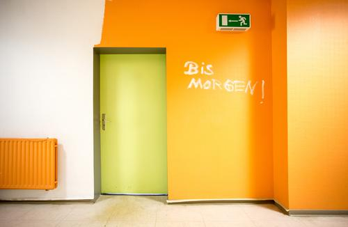 Green White Yellow Wall (building) Wall (barrier) School Work and employment Business Orange Office Door Characters Study Academic studies Sign School building