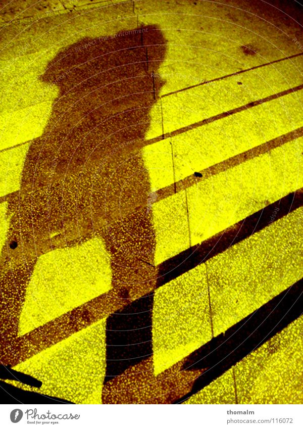 shadow man Man Light Yellow Green Line Take a photo Cold Winter Alexanderplatz Dark Concrete Going Diagonal Brown Colour Shadow Stairs Joist Legs me Stride