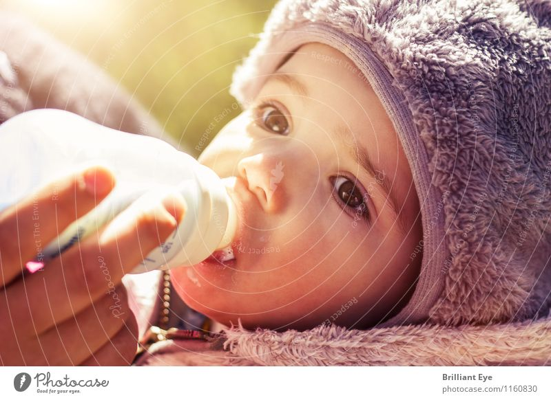 Baby bottle drink in the first spring rays Drinking Milk Lifestyle Masculine Face 0 - 12 months Sun Sunlight Spring Weather Beautiful weather Eating Feeding