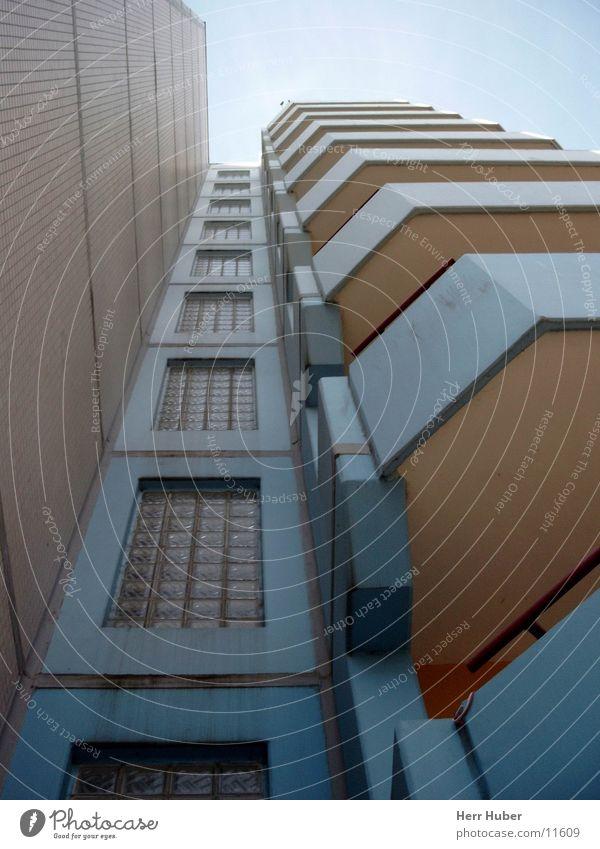 High-rise 70's -2- Balcony Gray Eimsbüttel Architecture Sky ground floor Blue Hamburg