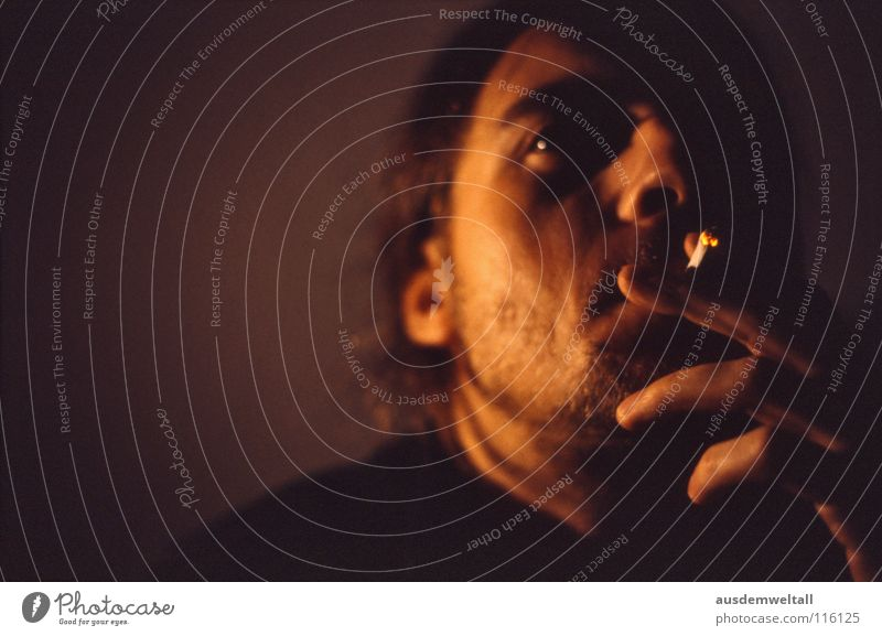 enjoy Masculine Portrait photograph Emotions Available Light Smoking color Parts of body Interior shot