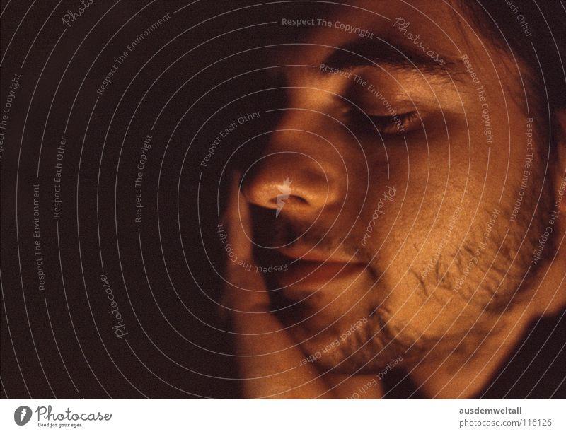 reminder Masculine Portrait photograph Emotions Calm Available Light color Parts of body Interior shot