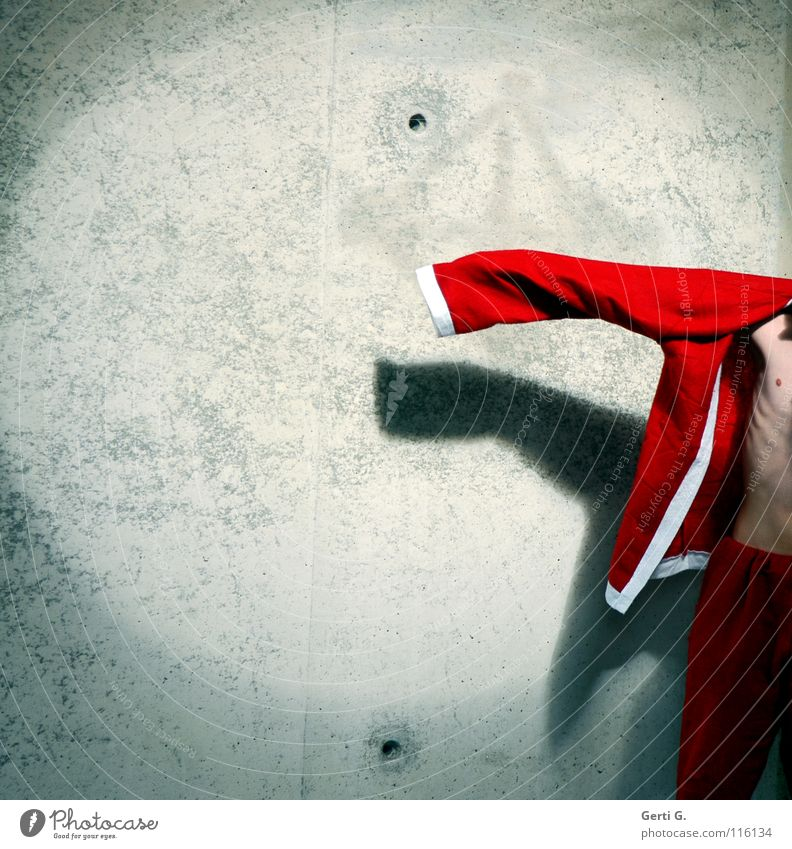 Christmas & Advent White Red Wall (building) Gray Wall (barrier) Body Skin Clothing Derelict Thin Santa Claus Jacket Hollow Stage lighting Ribs