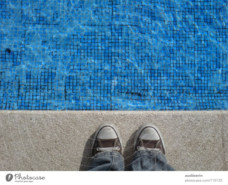 Still too cold? Swimming pool Chucks Turquoise Cold Footwear Edge Vacation & Travel Majorca Europe Blue Water Swimming & Bathing Coast Tile Contrast