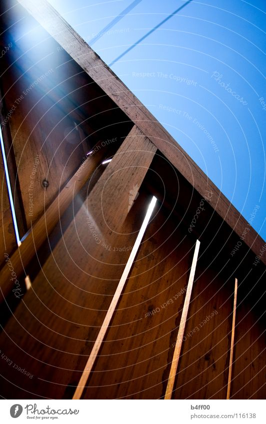balcony sky Back-light Wood Barrier Brown Electricity Physics Summer Joy Peace Blue Sun Handrail Cable Warmth Beautiful weather Relaxation Lie Sky Dynamics