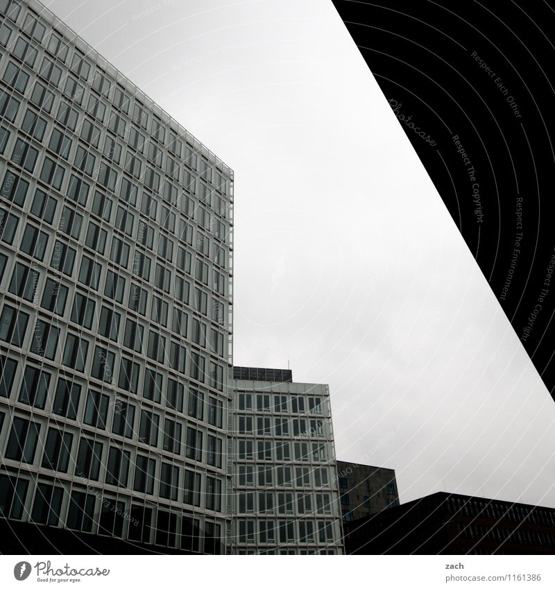 City Loneliness House (Residential Structure) Dark Window Wall (building) Architecture Wall (barrier) Gray Line Facade Office Gloomy High-rise Concrete Hamburg