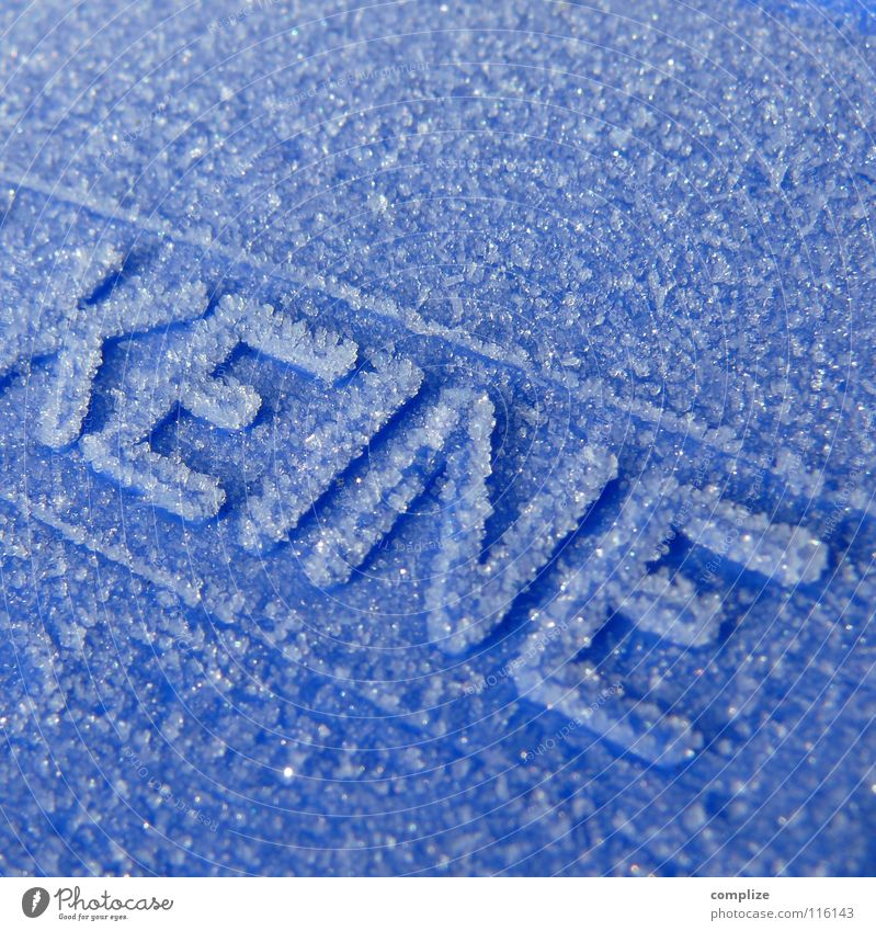 Blue Winter Cold Snow Line Ice Characters Letters (alphabet) Frost Trash Bans Trash container Hoar frost Degrees Celsius Rule Fill