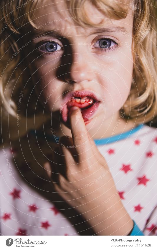 tooth fairy Feminine Girl Young woman Youth (Young adults) Eyes Mouth Lips Teeth Blonde Pain Fear Gum Toothache Tooth space Blood Colour photo Multicoloured