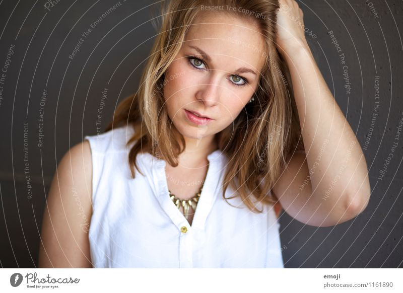 golden Feminine Young woman Youth (Young adults) Face 1 Human being 18 - 30 years Adults Beautiful Colour photo Exterior shot Neutral Background Day