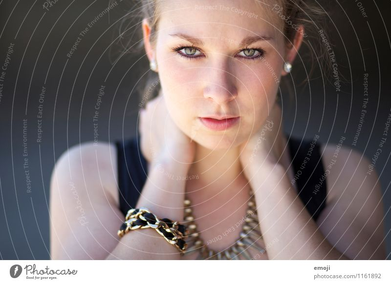 close-up Feminine Young woman Youth (Young adults) Face 1 Human being 18 - 30 years Adults Cool (slang) Beautiful Earnest Frontal Colour photo Exterior shot