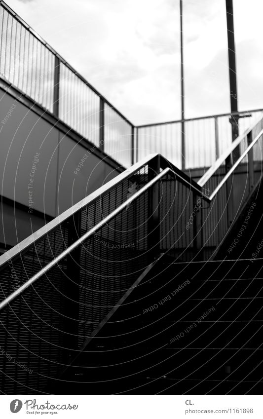 exit Sky Clouds Bridge Wall (barrier) Wall (building) Stairs Banister Gloomy Town Complex Lanes & trails Target Upward Black & white photo Exterior shot