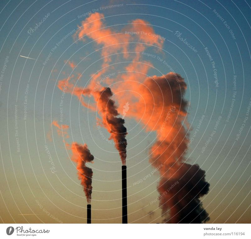 Sky Blue Red Environment Air Pink Dirty Climate Energy industry Tower Industry Beautiful weather Burn Dusk Chimney Exhaust gas