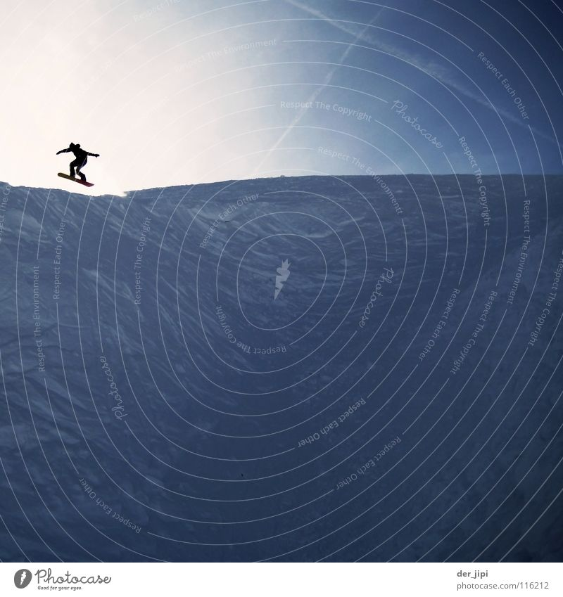 Winter Cold Wall (building) Snow Sports Jump Fresh Action Corner Picturesque Downward Canyon Steep Snowboard Winter sports Halfpipe