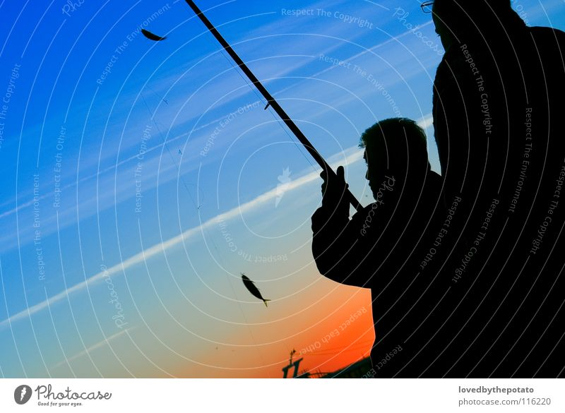Angler Silhouette Fishing (Angle) Istanbul Sunset Leisure and hobbies Clouds Ocean Ortaköy Sky