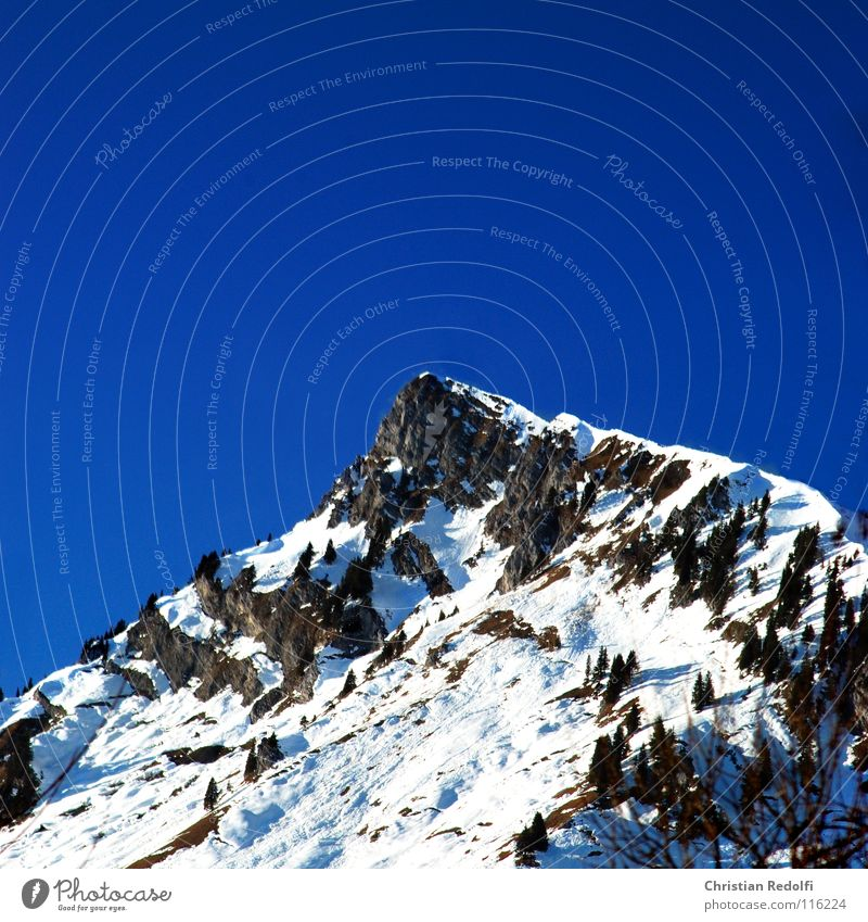 Sky Blue Winter Mountain Snow Lake Stone Rock Peak Alps Spruce Snow melt Peak cross