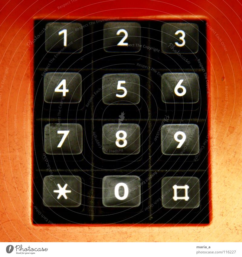 Old White Red Black 1 2 Empty 3 Touch Telephone Star (Symbol) Digits and numbers 4 5 Buttons 8