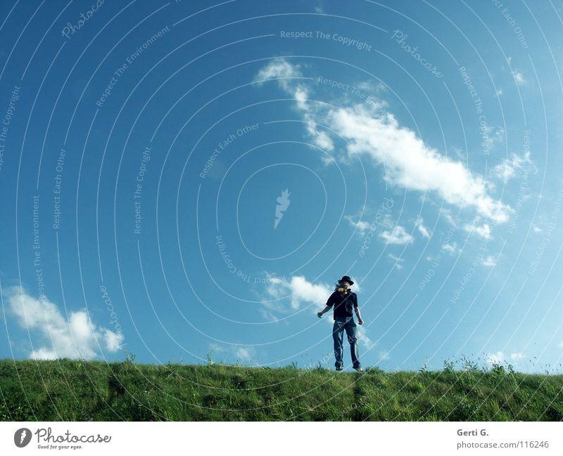 Human being Sky Man Blue Green Summer Sun Clouds Black Meadow Jump Line Blonde Arm Beautiful weather Fresh
