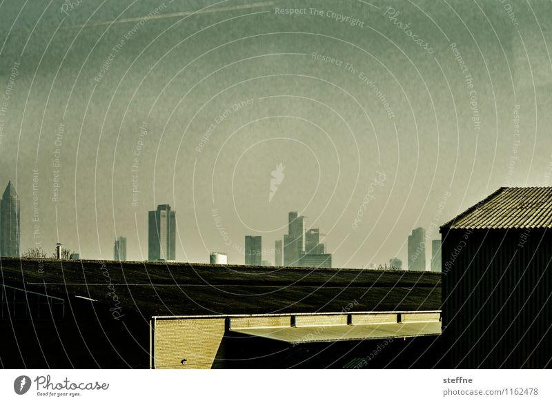 metropolis Sunlight Frankfurt Town Skyline High-rise Threat Gold Future Advancement Fear of the future Dark Science Fiction Colour photo Subdued colour
