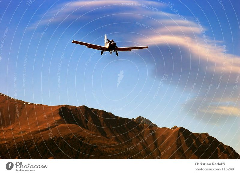 Sky Vacation & Travel Clouds Autumn Mountain Airplane Flying Aviation Airport Airplane landing Aircraft Motorsports