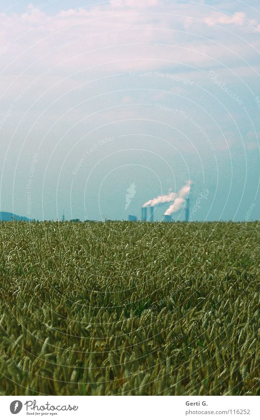 Sky Blue Green Clouds Far-off places Horizon Technology Tall Industry Agriculture Smoke Factory Environmental protection Grain Exhaust gas Chimney