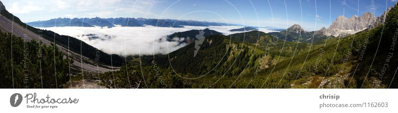 Panorama with Dachstein Environment Nature Landscape Sky Clouds Horizon Climate Weather Beautiful weather Fog Tree Hill Rock Alps Mountain Peak Fantastic