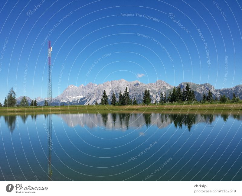 --¦^^^-- Telecommunications Environment Nature Landscape Water Sky Clouds Sunlight Climate Weather Beautiful weather Tree Grass Rock Alps Mountain Dachstein