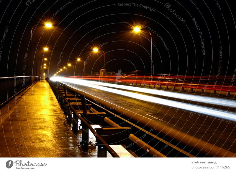 the bridge Night Dark Light Lamp Long exposure Street lighting Radiation Crash barrier Speed Lighting Transport Wet Damp Closing time Far-off places Bridge