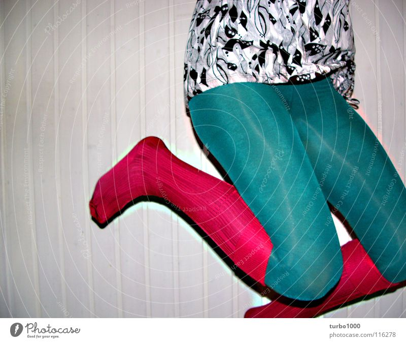 Woman Youth (Young adults) Green Joy Jump Style Legs Pink Clothing Modern Thin Trashy Tights Hip & trendy Hop