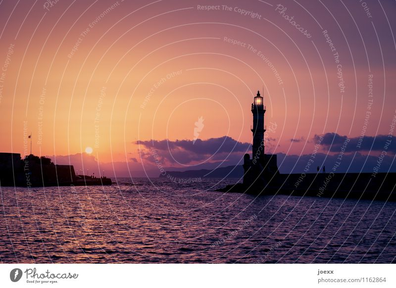 Chania Tourism Far-off places Freedom Summer Water Sky Clouds Horizon Sun Sunrise Sunset Beautiful weather Waves Island Crete Harbour Lighthouse Architecture