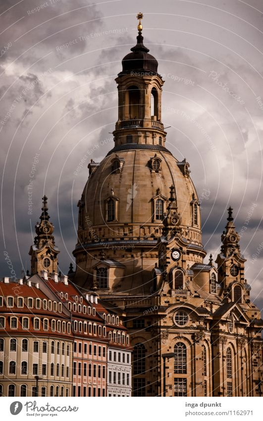 Church of Our Lady Art Work of art Sculpture Architecture Saxony Dresden Frauenkirche Baroque Germany Town Downtown Old town Deserted Manmade structures