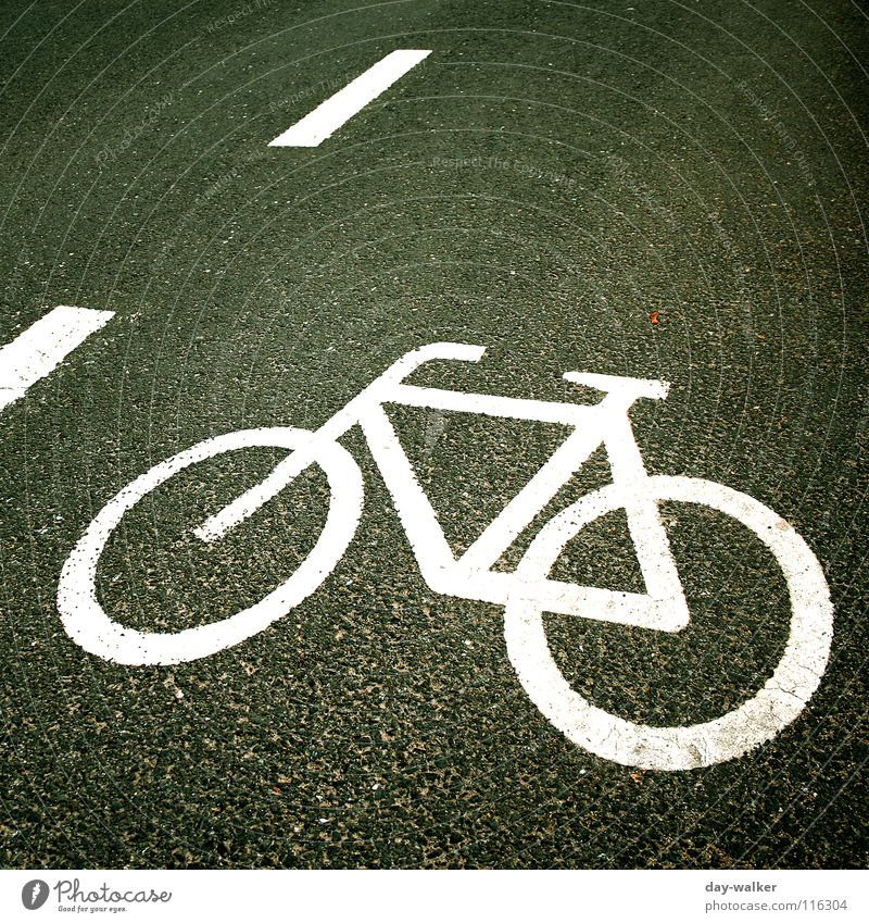 FLATTENED Asphalt Symbols and metaphors Bicycle Stripe Cycle race Road traffic Oncoming traffic Curb Street sign Sign Signs and labeling Contrast