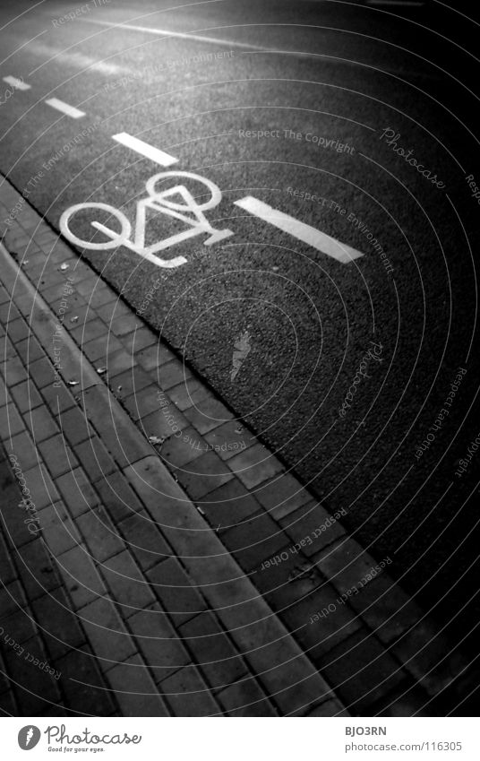 also laid flat ;) Concrete Night Graphic White Dark Cycle path Logo Bicycle Curbside Night shot Portrait format Vertical Pave Photos of everyday life Transport