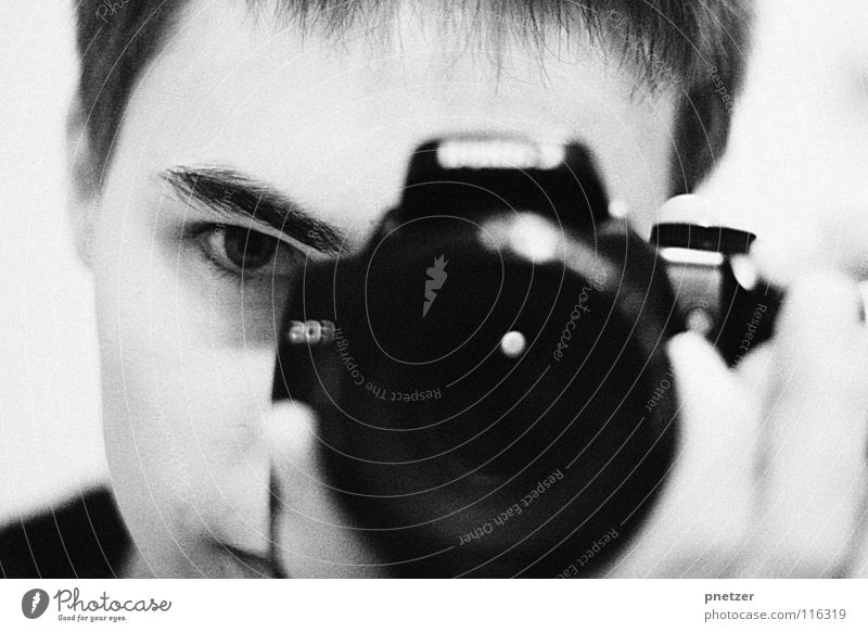 me Portrait photograph Black White Photographer Man Mirror Joy Photography oneself Camera Objective Eyes