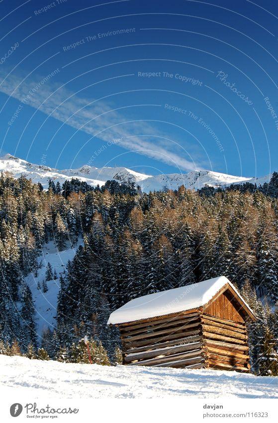 Sky White Blue Winter Calm Clouds Snow Mountain Point Peak Hut Austria Massive Mountain ridge