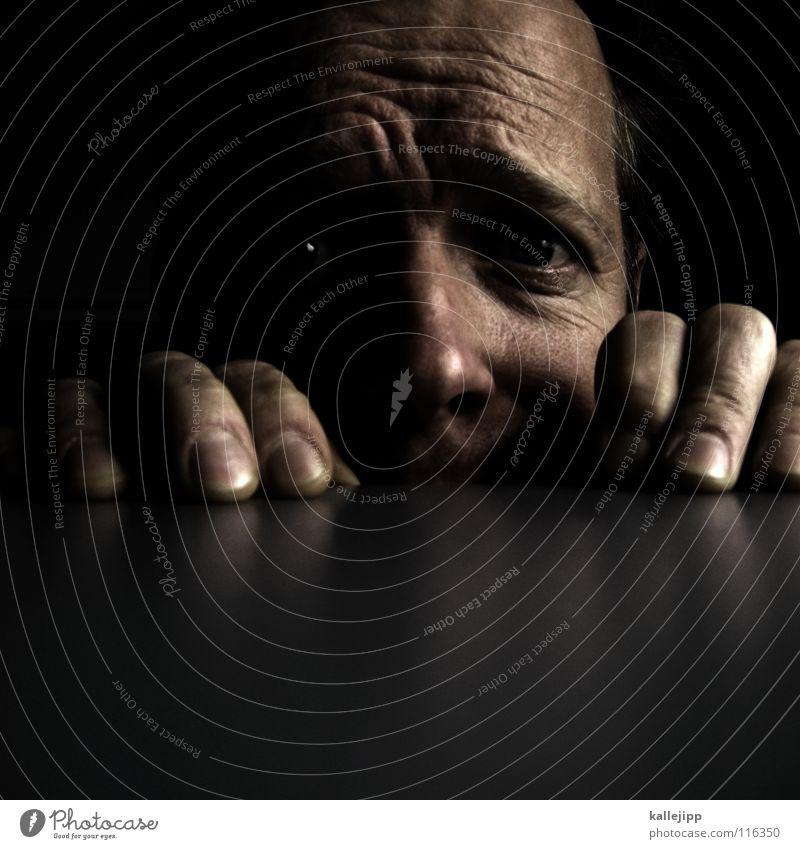 Man Hand Face Eyes Fear Nose Fingers Table Electricity Desk Wrinkles Hide Panic Warning label Fingernail Nerviness